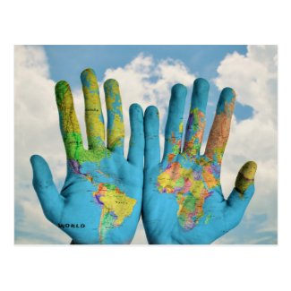 Colorful Painted World Map in Hands, Art Photo