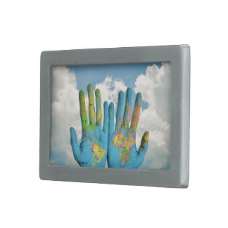 Colorful Painted World Map in Hands, Art Photo Rectangular Belt Buckle