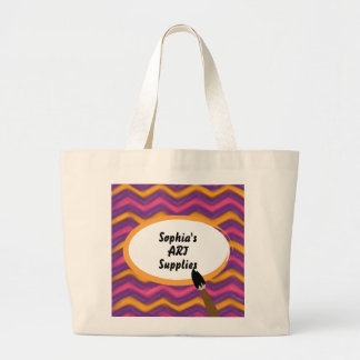 Colorful Painted Zigzags Personalized Art Supplies Large Tote Bag