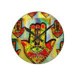 Colorful Painting of Hamsa Hand Art Round Wall Clocks