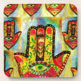 Colorful Painting of Hamsa Hand Art Beverage Coaster