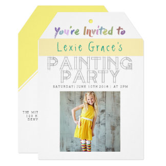 Colorful Painting Party | Photo Invite Tag