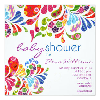 colorful paisley baby shower invitation