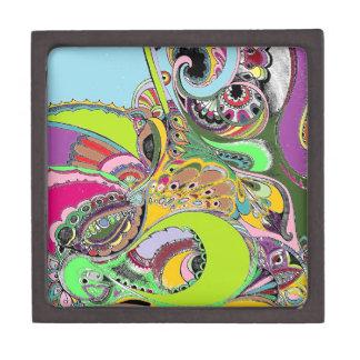 Colorful Paisley Coloring Book Design Premium Keepsake Boxes