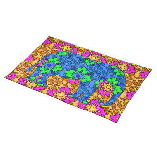 Colorful Paisley Elephant Cute Cloth Placemat