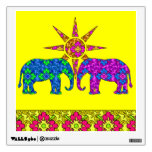 Colorful Paisley Elephants In The Sun Yellow Wall Sticker