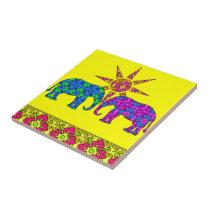 Colorful Paisley Elephants Tile Trivet
