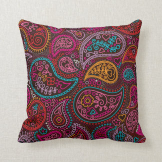 Colorful paisley india pattern art throw pillow
