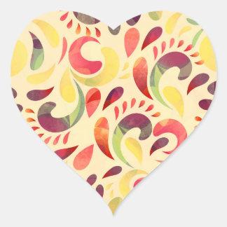 Colorful paisley pattern heart sticker