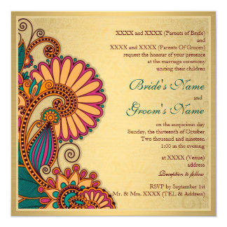 Colorful Paisley Pattern on Gold Indian Wedding Card