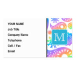 Colorful Paisley Pattern with Custom Monogram. Business Cards