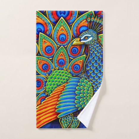 Colorful Paisley Peacock Bird bath towel set
