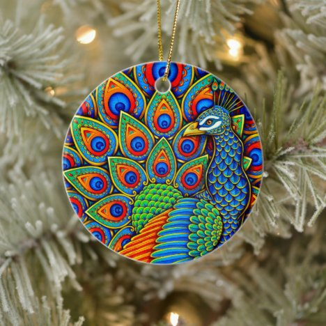 Colorful Paisley Peacock Bird Ceramic Ornament