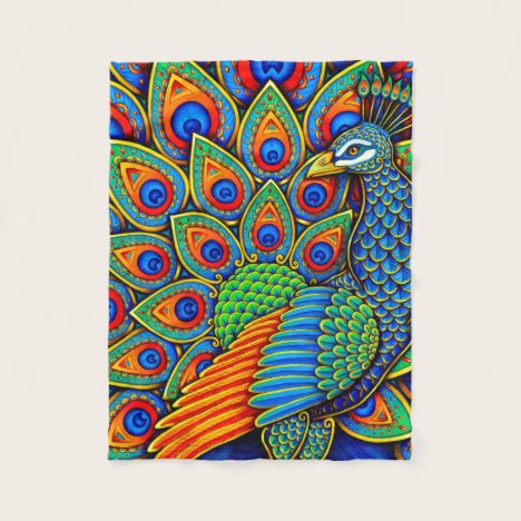 Colorful Paisley Peacock Bird Fleece Blanket