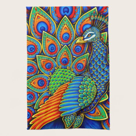 Colorful Paisley Peacock Bird Kitchen Towels