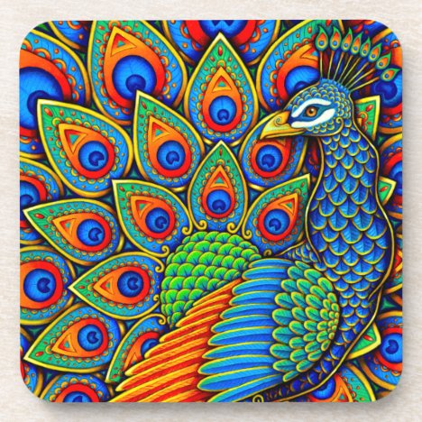 Colorful Paisley Peacock Bird Plastic Coasters