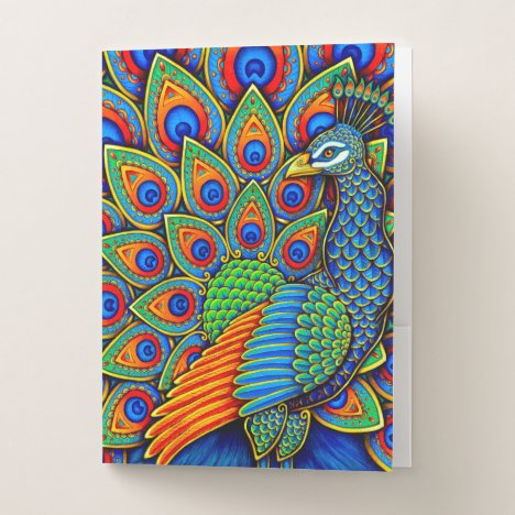 Colorful Paisley Peacock Bird Pocket Folder