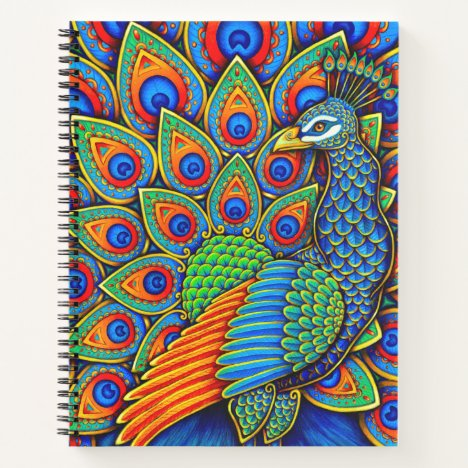 Colorful Paisley Peacock Bird Spiral Notebook
