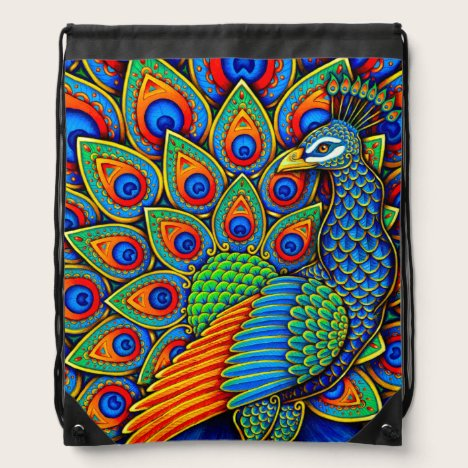 Colorful Paisley Peacock Drawstring Backpack