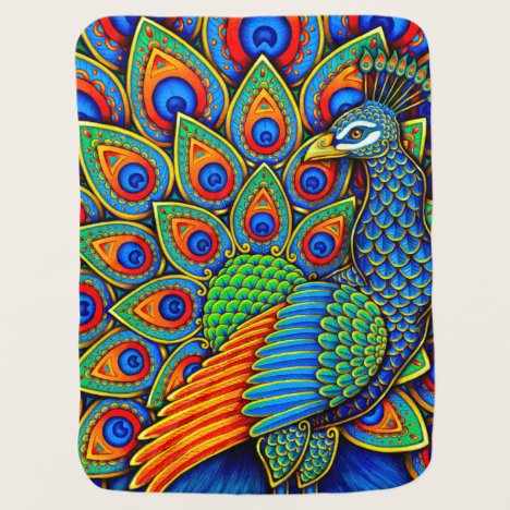 Colorful Paisley Peacock Rainbow Bird Baby Blanket