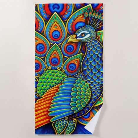 Colorful Paisley Peacock Rainbow Bird Beach Towel