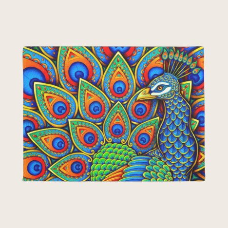 Colorful Paisley Peacock Rainbow Bird Door Mat