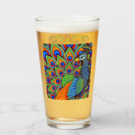 Colorful Paisley Peacock Rainbow Bird Glass Cup