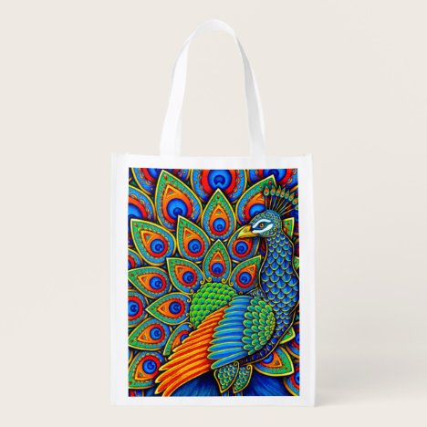 Colorful Paisley Peacock Rainbow Bird Grocery Bag