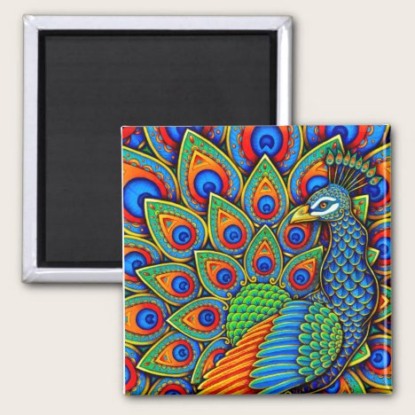 Colorful Paisley Peacock Rainbow Bird Magnet