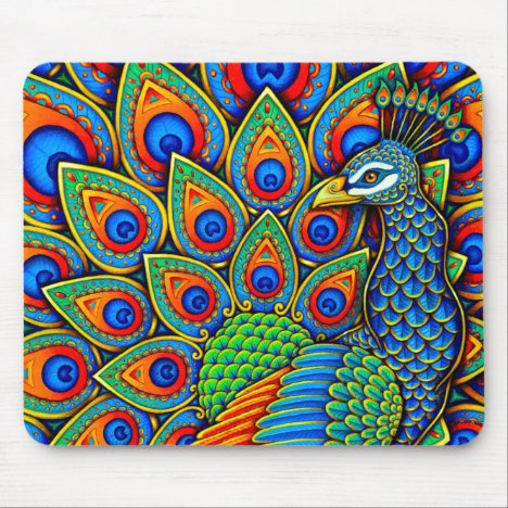 Colorful Paisley Peacock Rainbow Bird Mouse pad