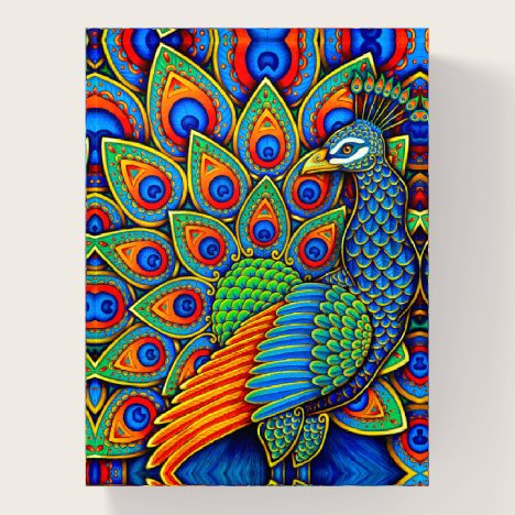 Colorful Paisley Peacock Rainbow Bird Paperweight