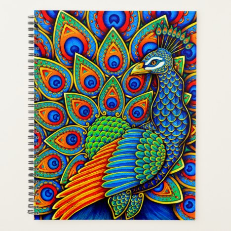 Colorful Paisley Peacock Rainbow Bird Planner