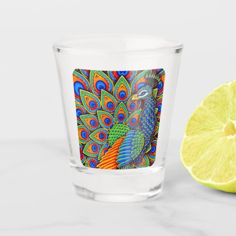 Colorful Paisley Peacock Rainbow Bird Shot Glass