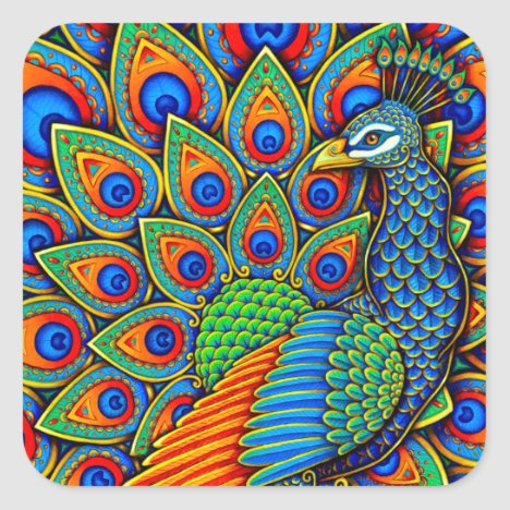 Colorful Paisley Peacock Rainbow Bird Stickers