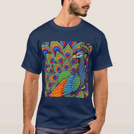 Colorful Paisley Peacock Rainbow Bird T-Shirt