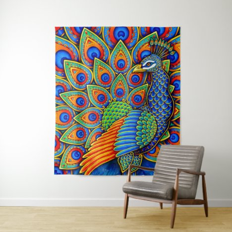 Colorful Paisley Peacock Rainbow Bird Tapestry