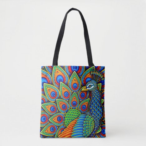 Colorful Paisley Peacock Rainbow Bird Tote Bag
