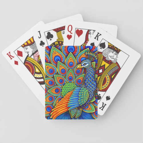 Colorful Paisley Peacock Rainbow Playing Cards