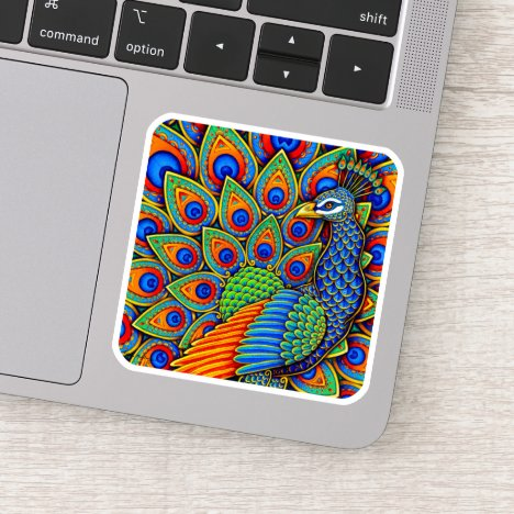 Colorful Paisley Peacock Vinyl Sticker