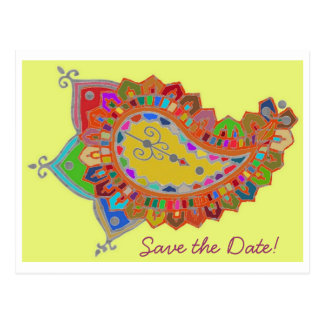 Colorful Paisley Save the Date Postcard
