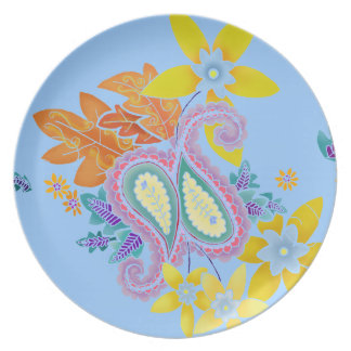Colorful Paisley Stencil Plate
