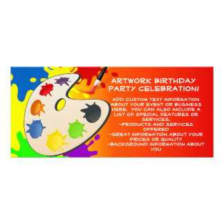 Colorful Palate Art Party Rack Card Template