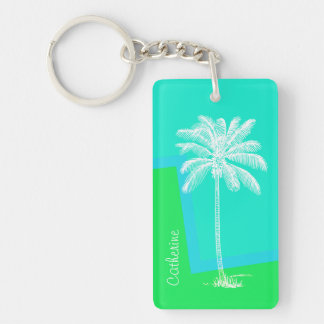 Colorful Palm Tree Custom Key Chain