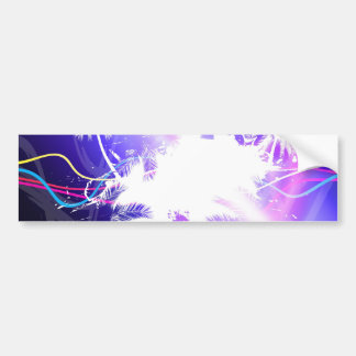 Colorful Palm Trees Grunge Layout Car Bumper Sticker