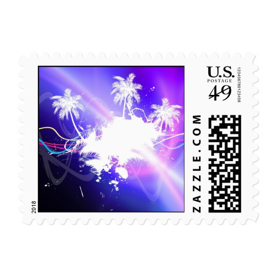 Colorful Palm Trees Grunge Layout Postage