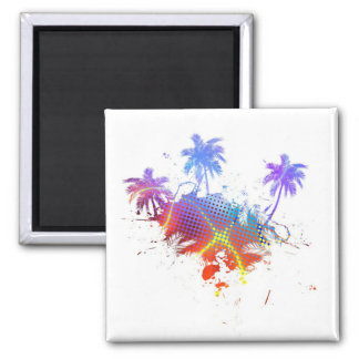 Colorful Palm Trees Illustration 2 Inch Square Magnet