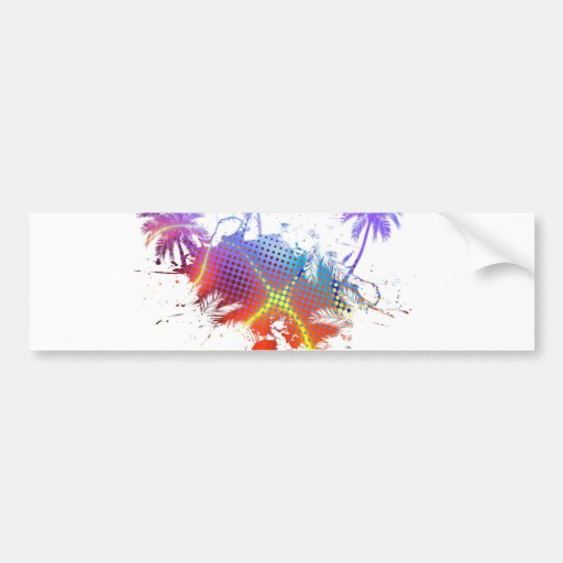 Colorful Palm Trees Illustration Car Bumper Sticker