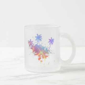 Colorful Palm Trees Illustration Frosted Glass Coffee Mug