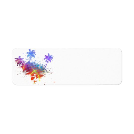 Colorful Palm Trees Illustration Label