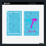 "Colorful Palm Trees Kindle Fire Skin<br><div class=""desc"">Pretty Amazon Kindle Fire skin,  done in an aqua,  on aqua,  pattern background,  with graphics of a turquoise and a hot pink palm tree,  on the back skin.  Pink text is ready to  personalize for yourself or as a great gift idea.</div>"